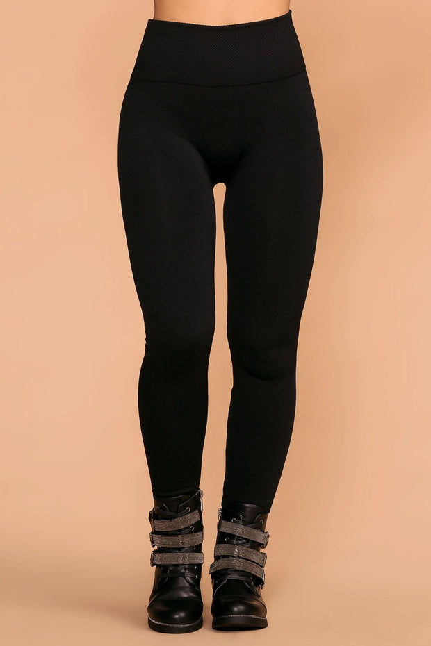 Priceless | Black | Seamless Control Top Fleece Leggings | Womens