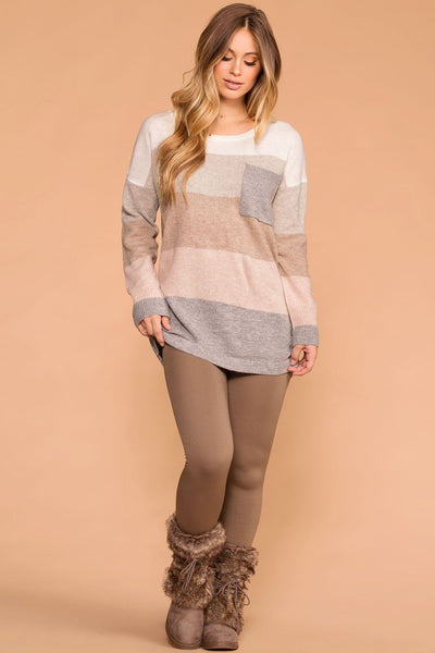 Priceless | Taupe | Seamless Control Top Fleece Leggings | Womens