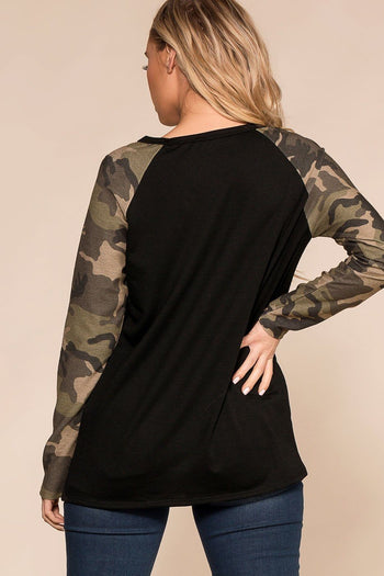 Priceless | Black | Camo | Baseball Tee | Womens