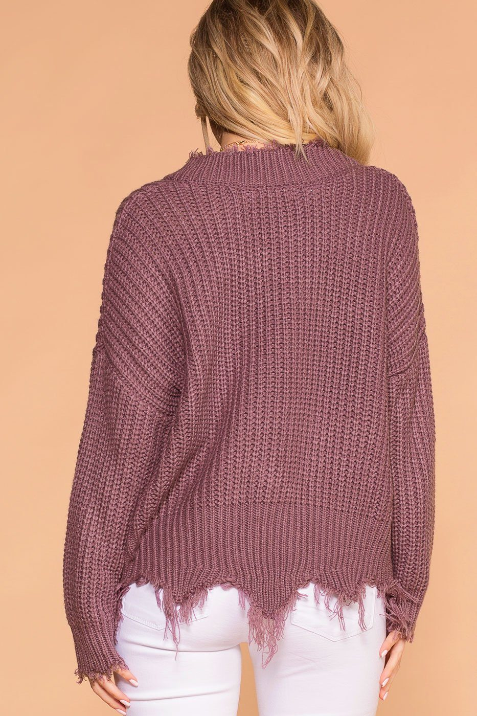 Priceless | Lavender | Distressed Knit Sweater | Womens
