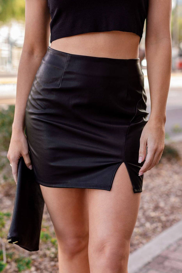 Black Vegan Leather Mini Skirt