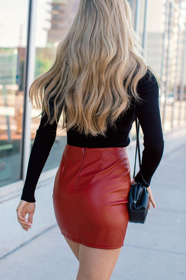 Red Vegan Leather Mini Skirt