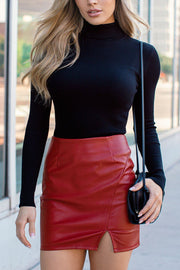 Material Girl Red Vegan Leather Mini Skirt