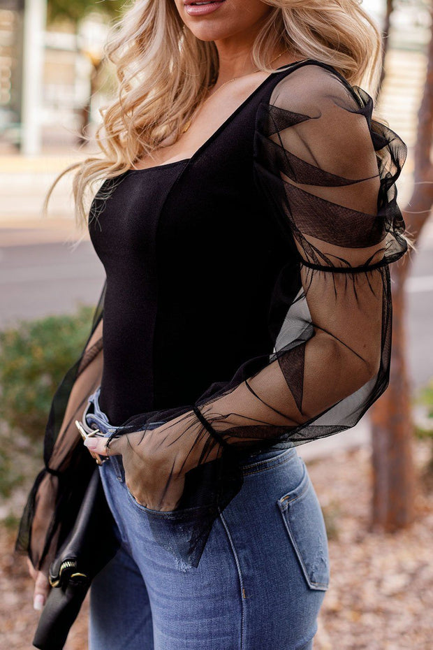 Black Organza Sleeve Square Neck Top