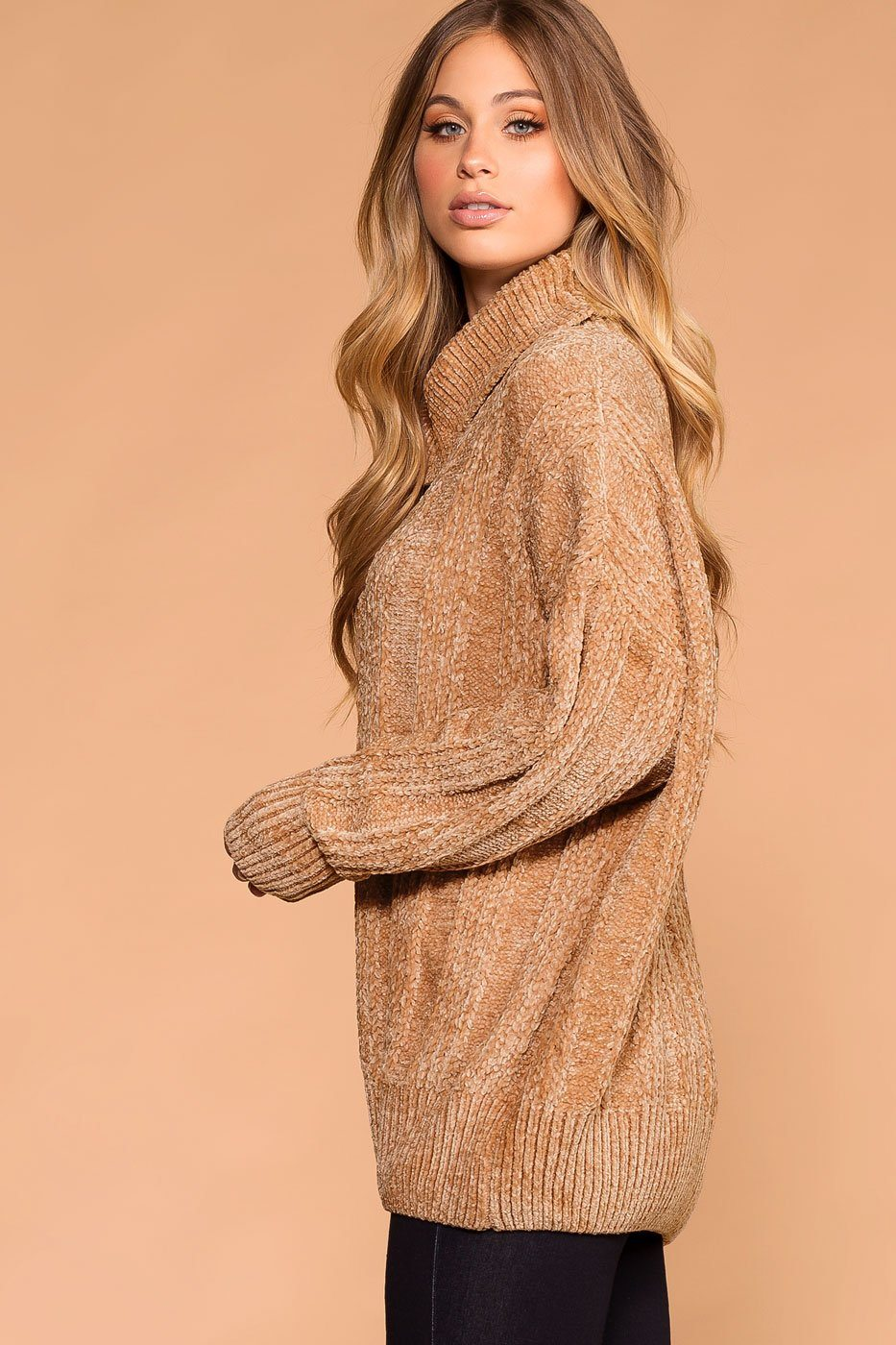 Priceless | Taupe Chenille Turtleneck Knit Sweater | Oversized | Women