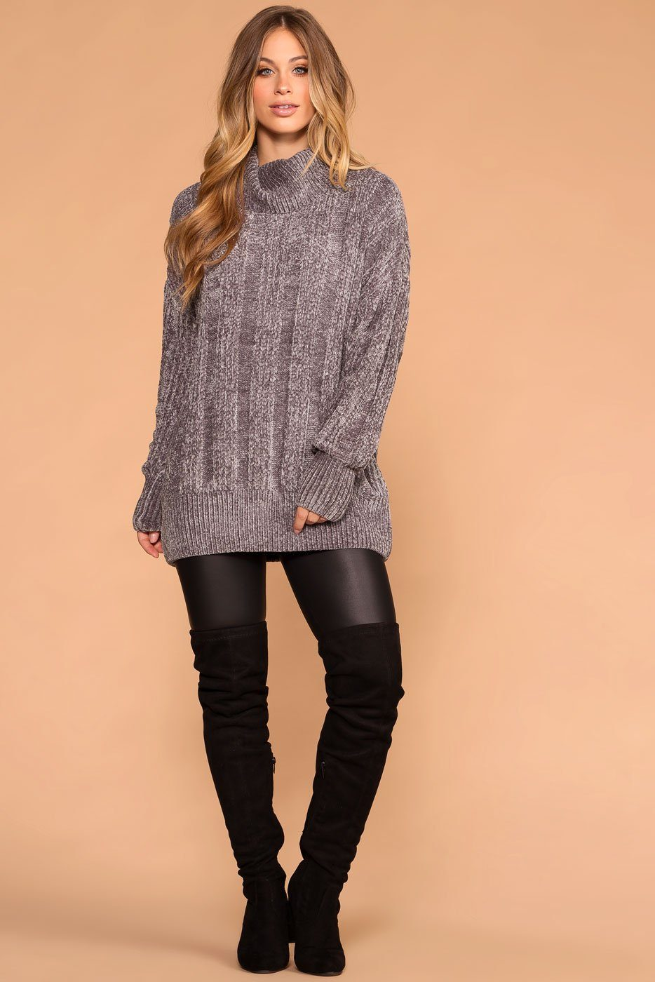 Priceless | Silver Chenille Turtleneck Knit Sweater | Oversized Womens