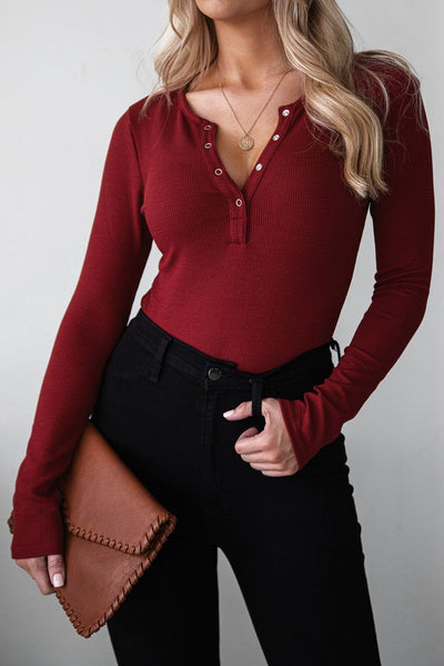 Burgundy Button Up Long Sleeve Bodysuit