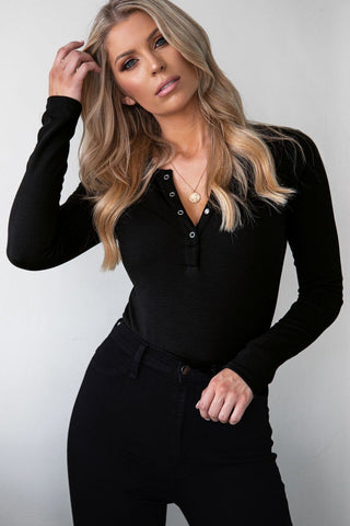 Say Yes Black Asymmetrical Bodysuit