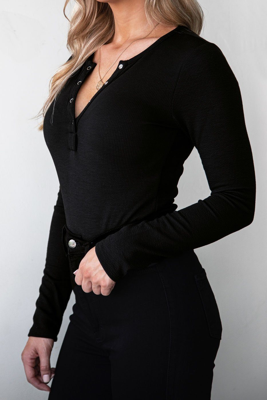 Black Button Up Long Sleeve Bodysuit