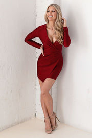Wine Wrap Mini Dress