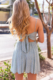 Blue Floral Tie-Back Sun Dress
