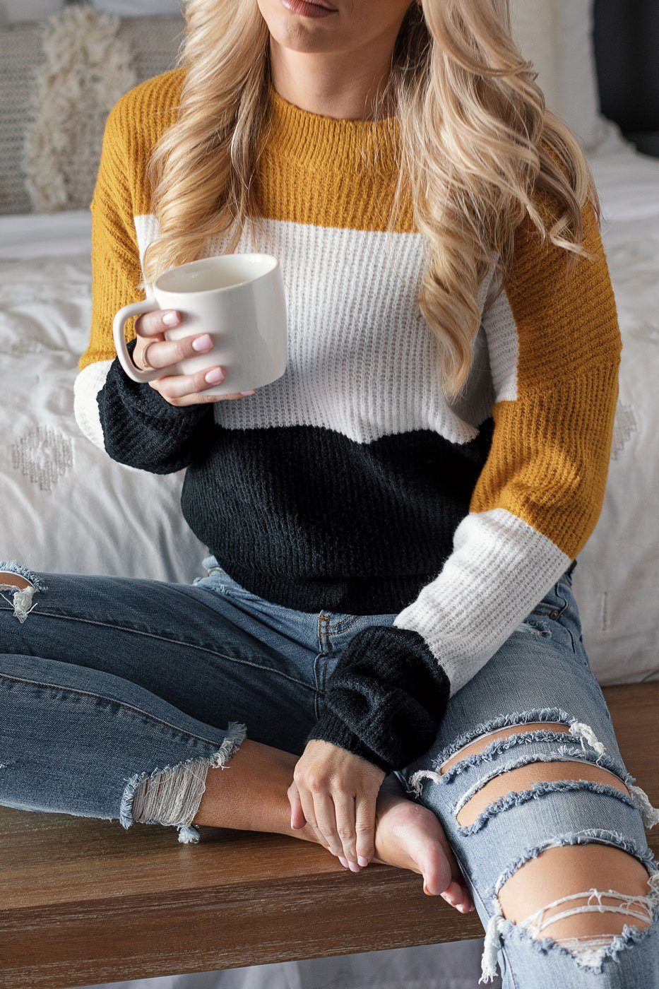 Mustard Colorblock Sweater