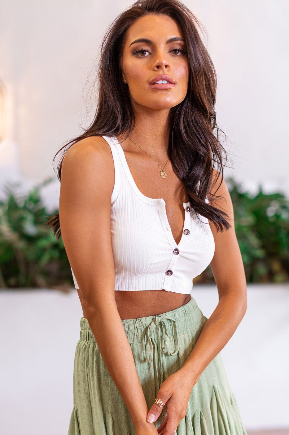 Megan White Buttoned Crop Top