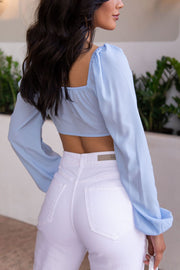 Dusty Blue Tie-Front Crop Top