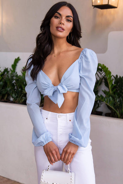 Melanie Dusty Blue Tie-Front Crop Top