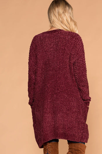 Melody Burgundy Chenille Knit Pocket Cardigan | Love Tree