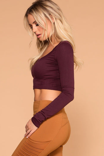 Burgundy | Long Sleeve Crop Top | Round Neck | Womens | Priceless