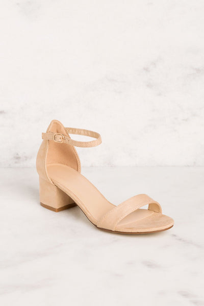 Priceless | Beige | Low Block Heels | Womens