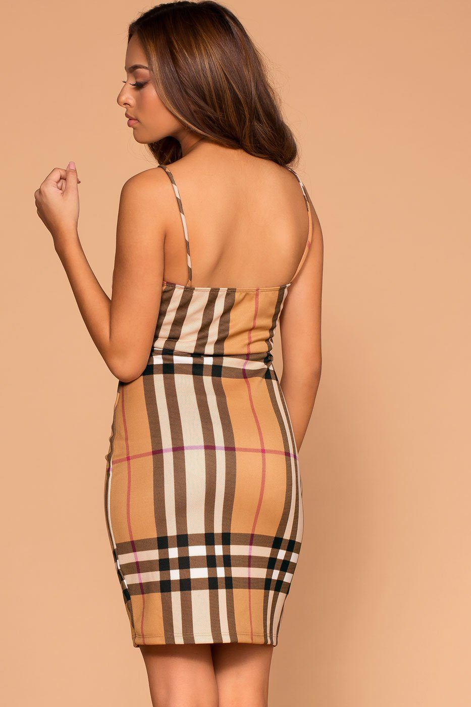 Meryl Taupe Plaid Bodycon Dress | Shop Priceless