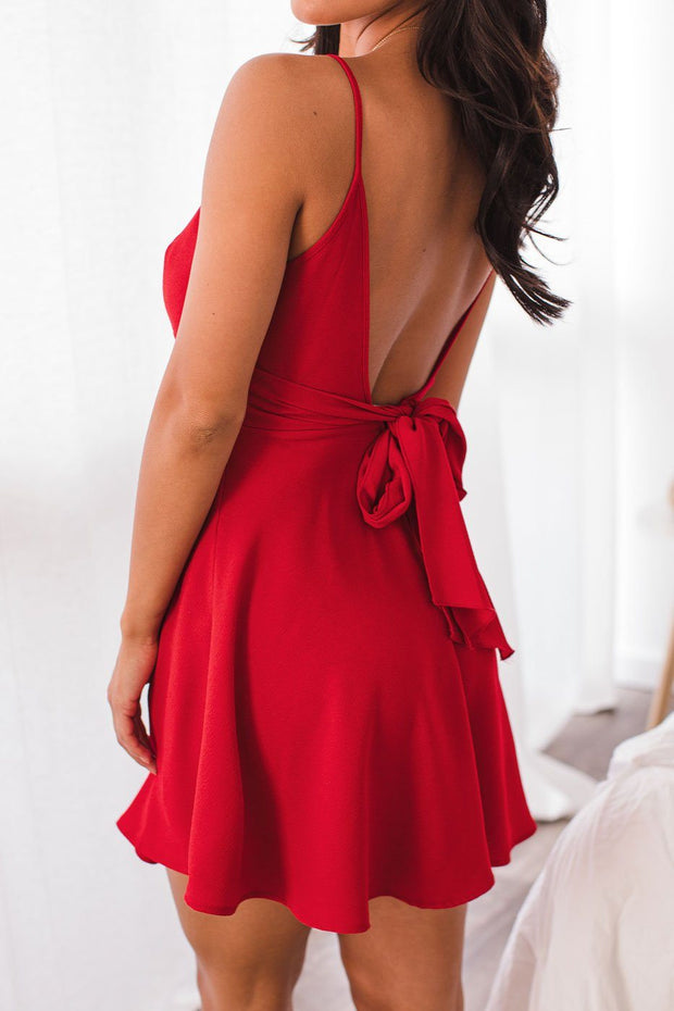 Red Tie-Back Skater Dress