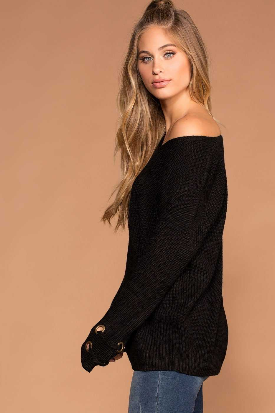 Mia Black Knit Sweater | Active Basic
