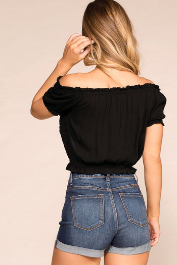 Michelle Black Off The Shoulder Top | Ambiance Apparel