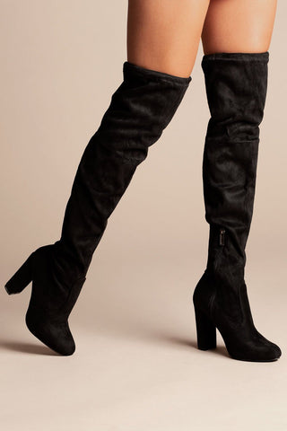 Follow Me Black Over The Knee Boots