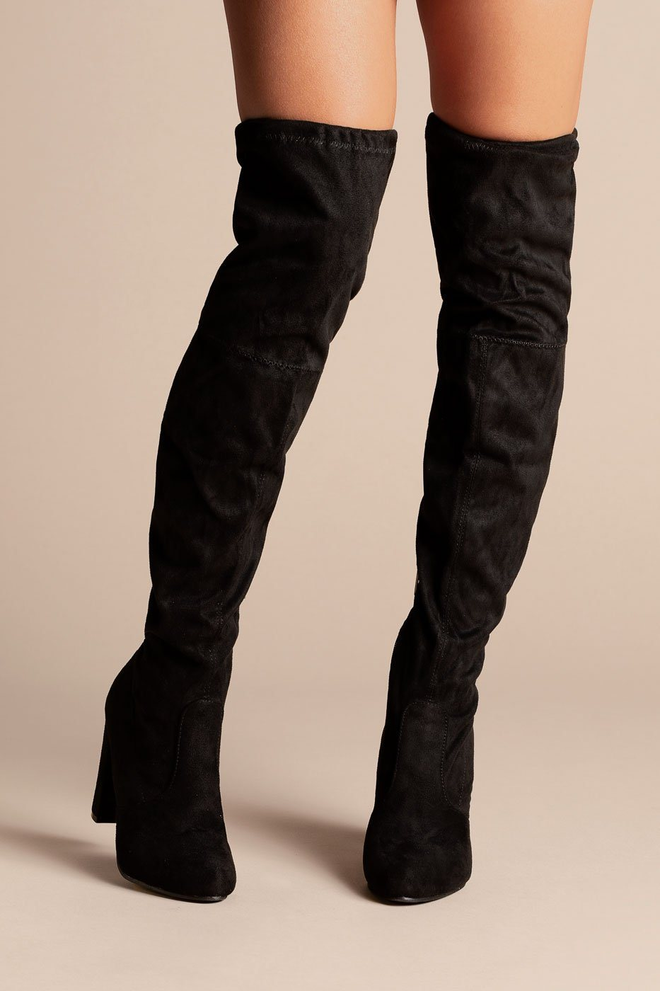 Midnight City Black Thigh High Boots
