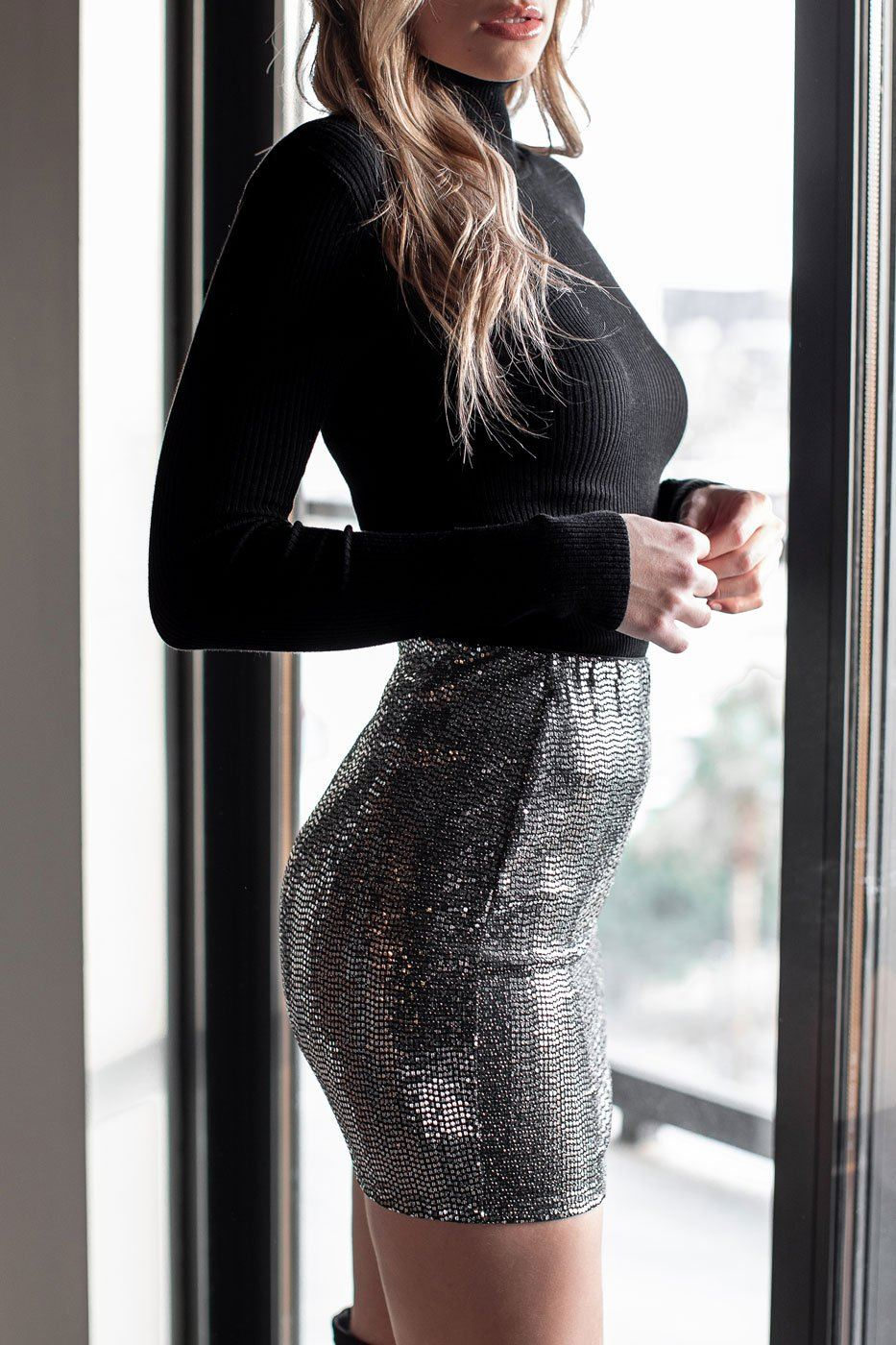 Midnight Love Metallic Mini Slit Skirt