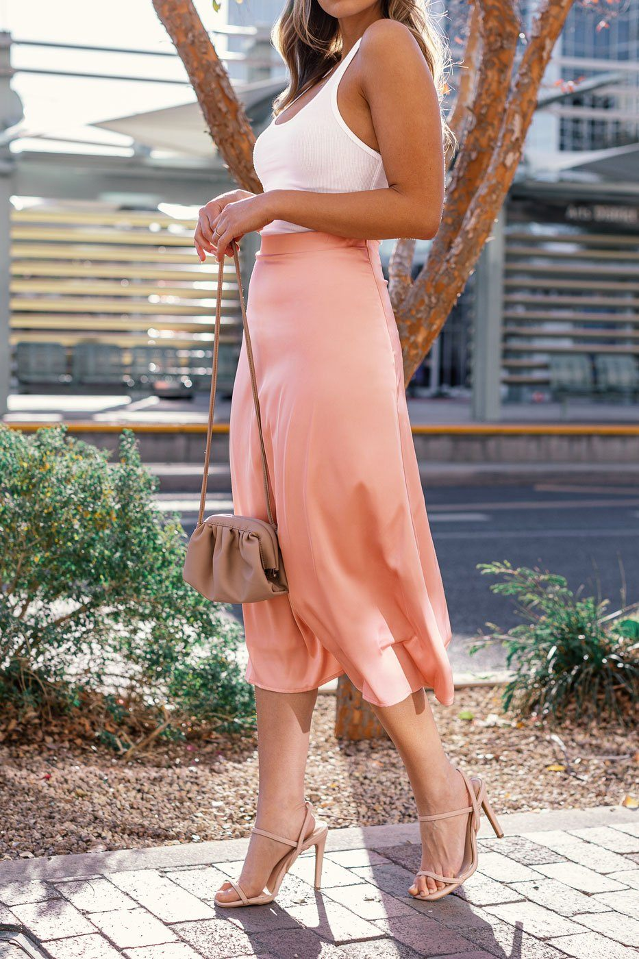 Blush Satin Midi Skirt