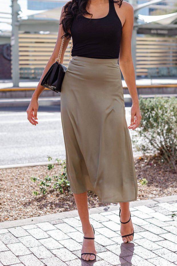 Dream Olive Satin Midi Skirt