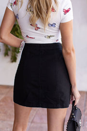 Black Denim Buttoned Skirt
