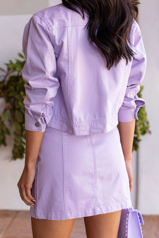 Lavender Denim Buttoned Skirt