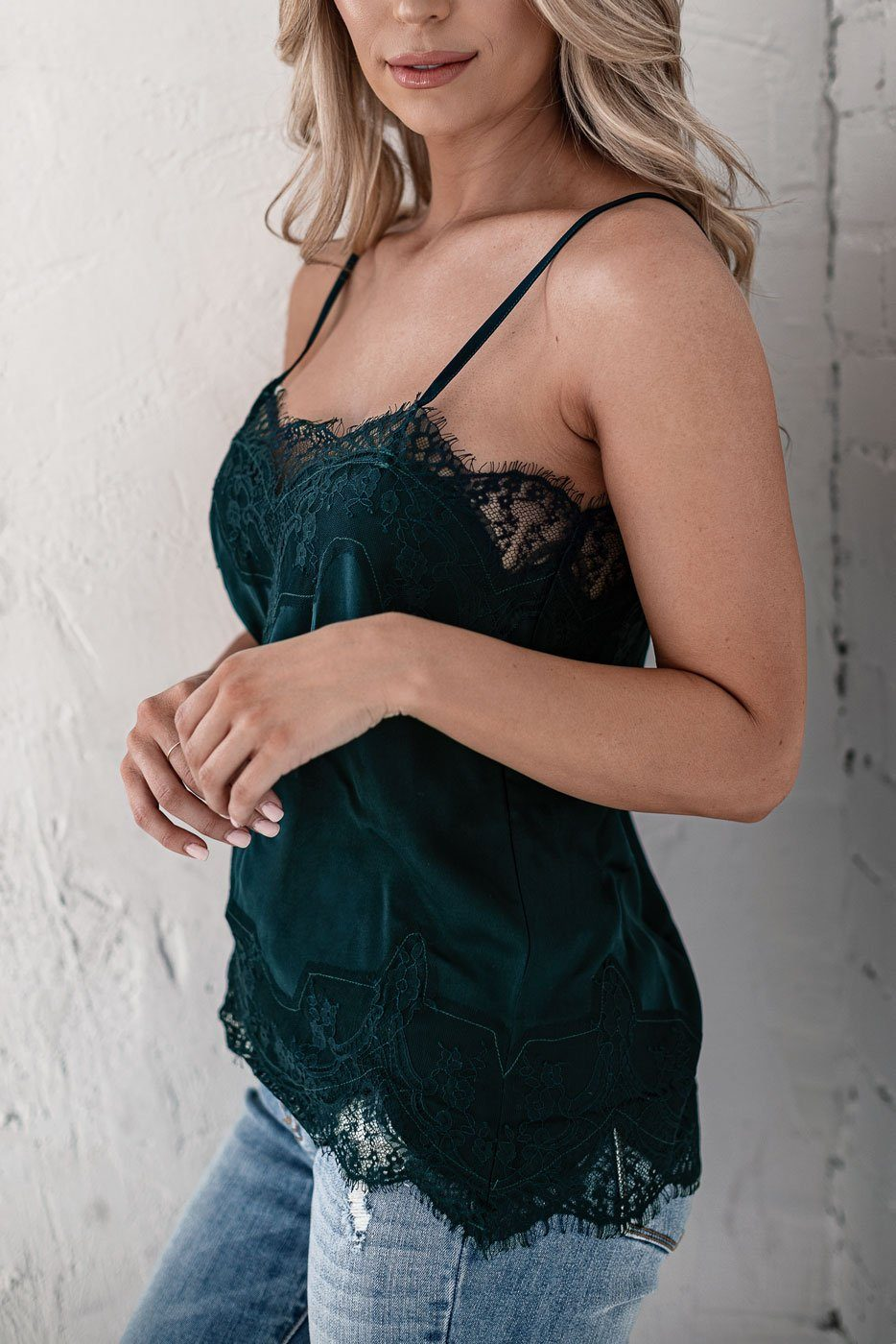 Dark Teal Lace Satin Cami