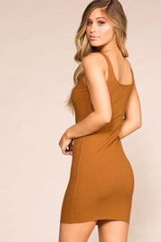 Misha Rust Buttoned Bodycon Dress | Hearts & Hips