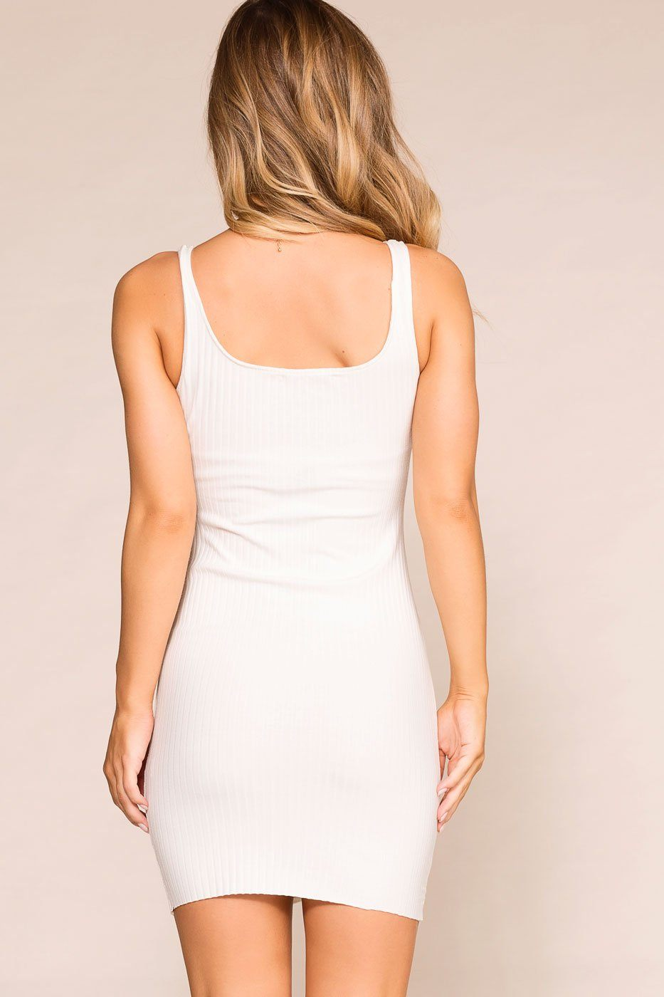 Misha White Buttoned Bodycon Dress | Hearts & Hips