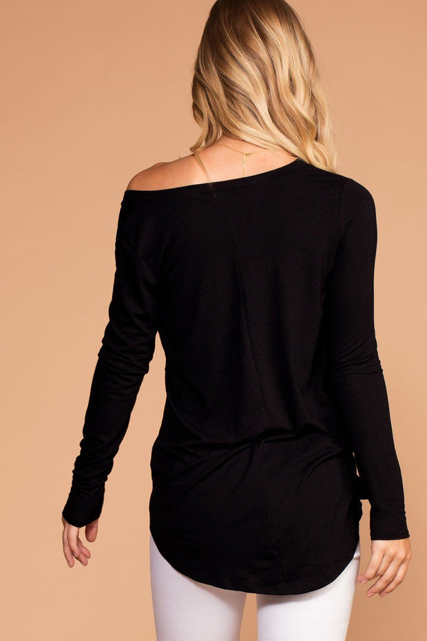 Missy Black Long Sleeve V-Neck Top | Zenana