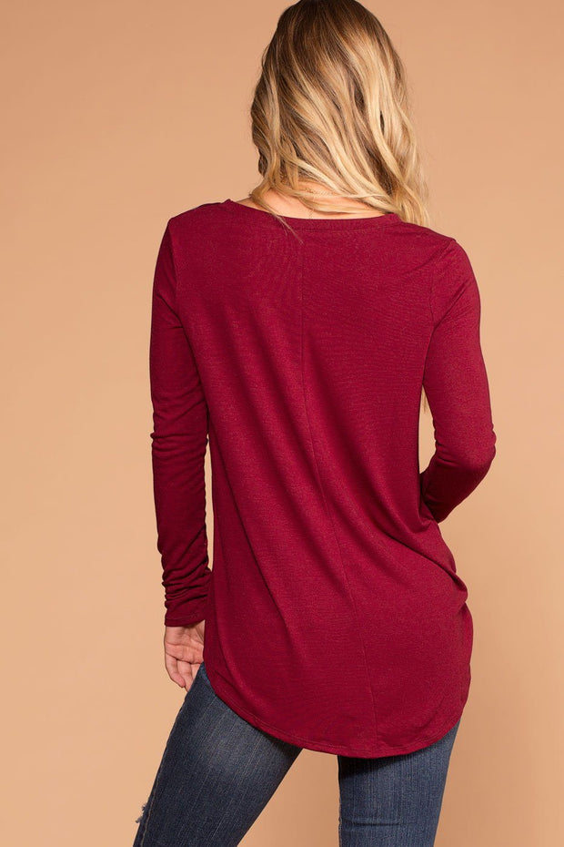Missy Burgundy Long Sleeve V-Neck Top | Shop Priceless