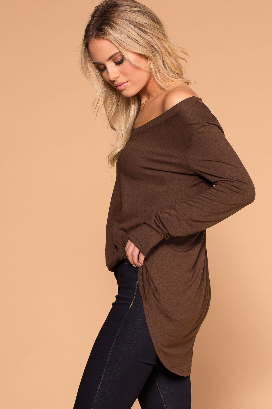 Priceless | Chocolate | Long Sleeve V-Neck Top | Womens