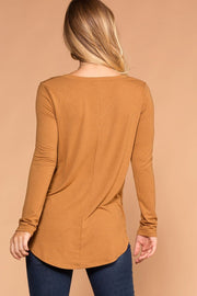 Missy Coffee Long Sleeve V-Neck Top | Zenana
