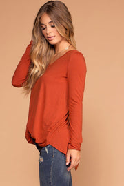 Missy Copper Long Sleeve V-Neck Top | Shop Priceless