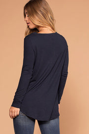 Missy Navy Long Sleeve V-Neck Top | Shop Priceless