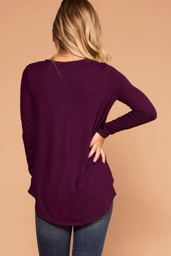 Missy Plum Long Sleeve V-Neck Top | Shop Priceless