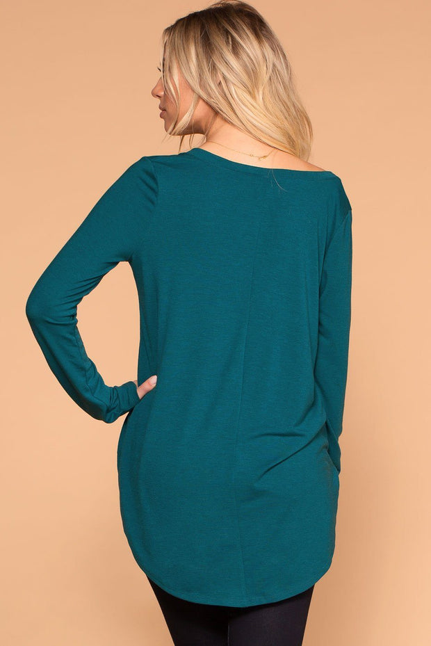 Priceless | Teal | Long Sleeve V-Neck Top | Womens