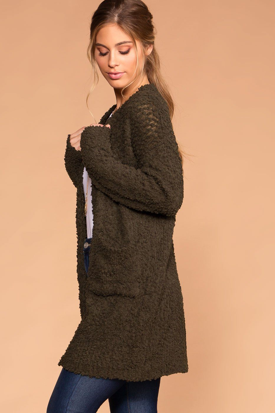 Mistletoe Dark Olive Pocket Cardigan | Shop Priceless