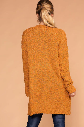 Mistletoe Mustard Pocket Cardigan | Zenana