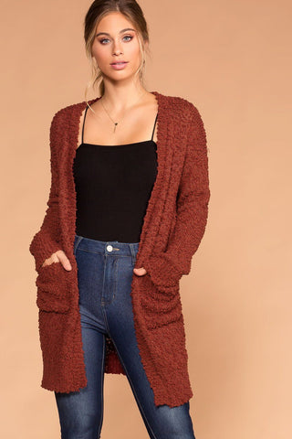 Roxanne V-Neck Button-Up Caramel Sweater Cardigan Top
