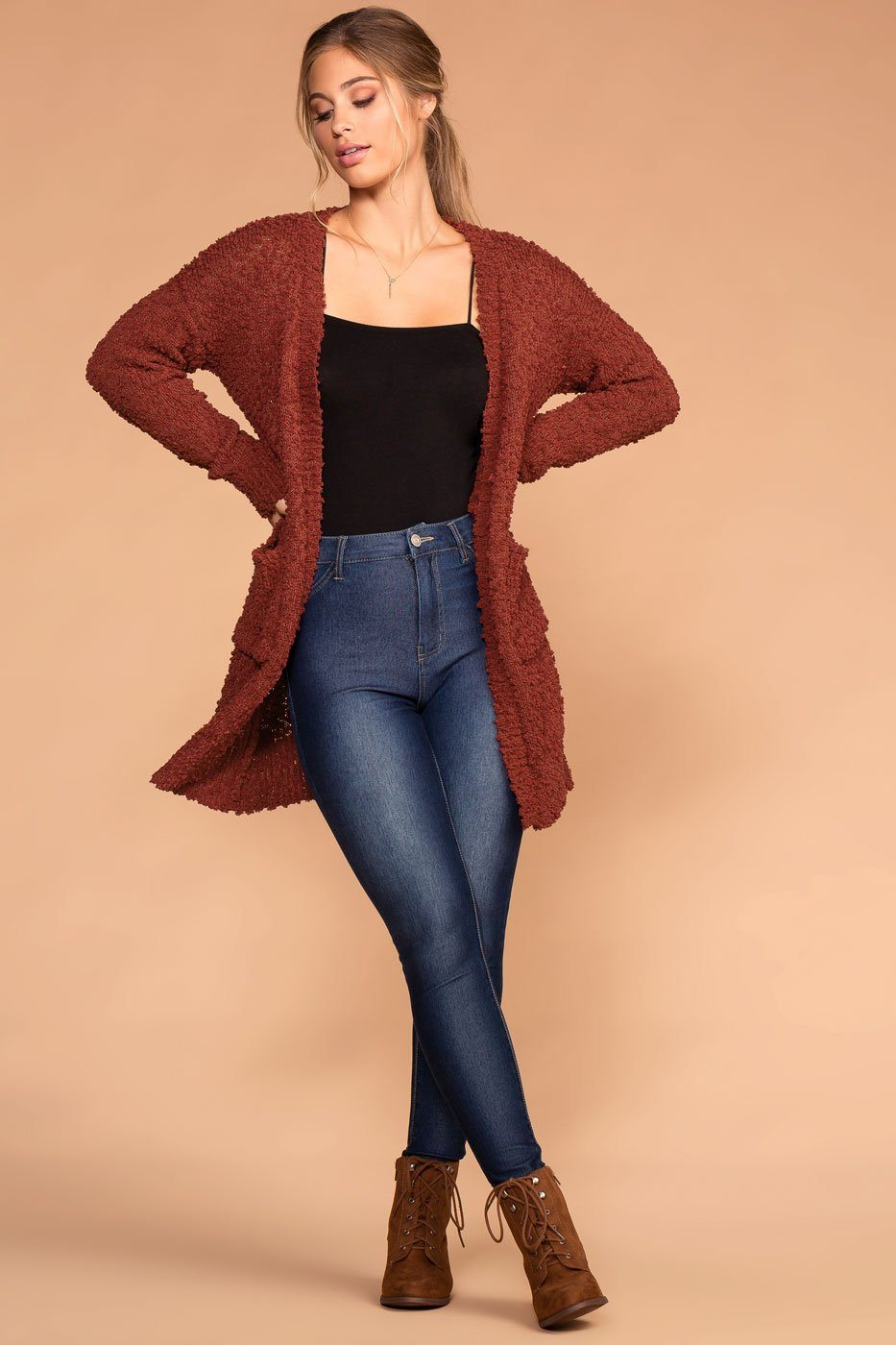 Mistletoe Rust Pocket Cardigan