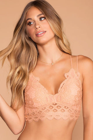 Up All Night Lace Bralette - Pink