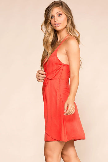 Shop Priceless | Red | Twist-Front Dress | Womens